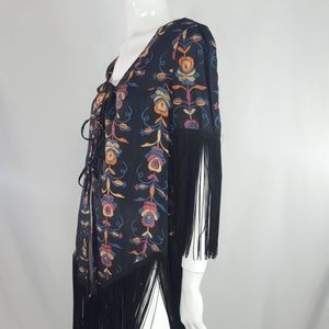 Vintage sheer fringe floral boho hippie